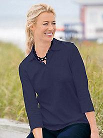 Essential Cotton Three-Quarter Sleeve Polo