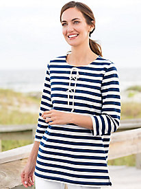 Striped Lace-Up Tunic
