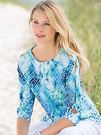 Watercolor Mosaic Split-Sleeve Top