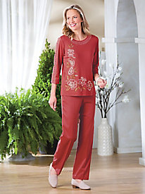 Asymmetric Floral Print & Crochet Top by Alfred Dunner