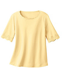 Embroidered Eyelet Cutout Tee
