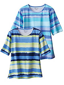 Painterly Stripe Elbow Sleeve Tee