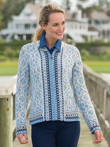 Nordic Style Zip Front Cardigan Sweater - Image 1 of 4