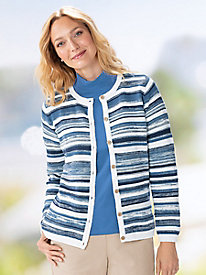 Ocean Waves Jacquard Cardigan Sweater