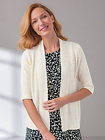 Elbow Sleeve Open Front Cardigan Sweater