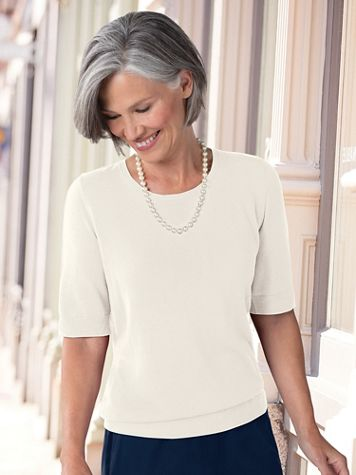 Elbow Sleeve Fine-Gauge Sweater - Image 1 of 4