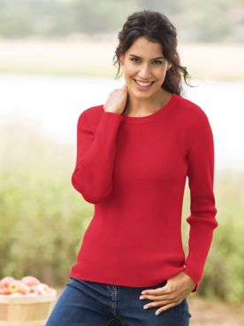 Ribbed Cotton Crewneck Sweater