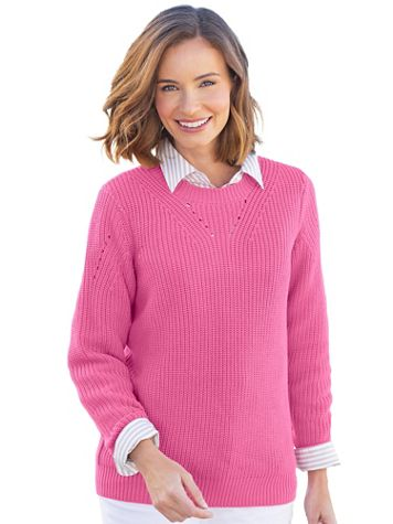 Shaker-Stitch Pullover Sweater