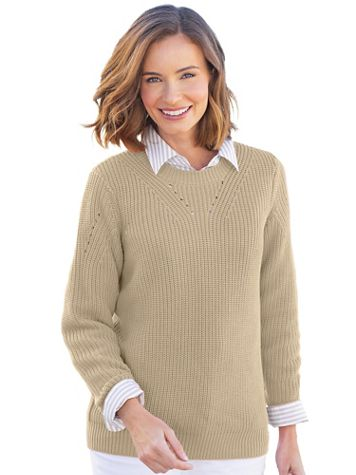 Shaker-Stitch Pullover Sweater - Image 1 of 3
