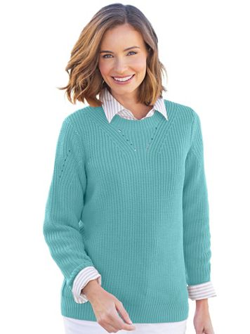 Shaker-Stitch Pullover Sweater - Image 1 of 4