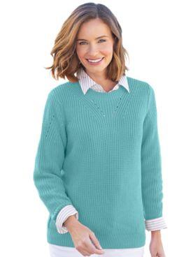 Shaker-Stitch Pullover Sweater
