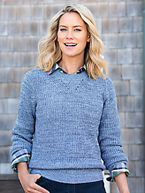 Shaker-Stitch Pullover Sweater by Appleseed's