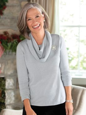 Sparkle Cowlneck Sweater