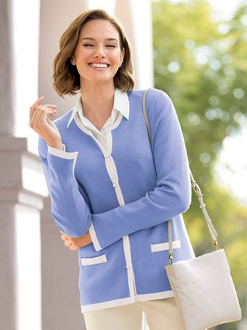 Pearl-Button Tipped Cardigan - Image 1 of 9