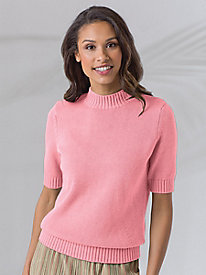 Ribbed-Trim Elbow-Sleeve Mockneck