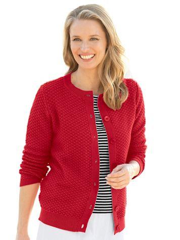 Cotton Tuckstitch Cardigan Sweater - Image 1 of 7