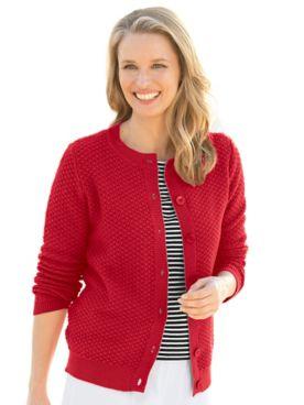 Cotton Tuckstitch Cardigan Sweater
