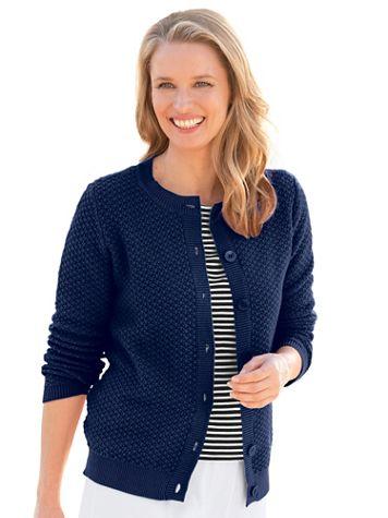 Cotton Tuckstitch Cardigan Sweater - Image 1 of 8