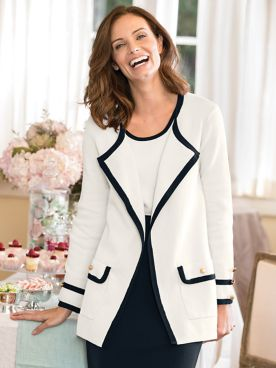 Tipped Gold-Button Cardigan