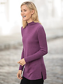 Mixed Stitch Mockneck Tunic Sweater
