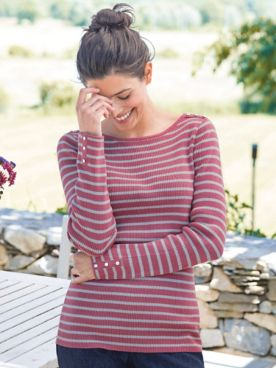 Button Trimmed Striped Sweater