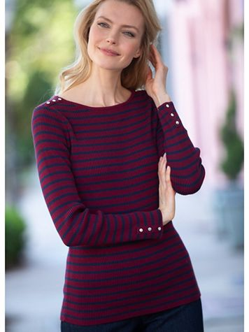 Button Trimmed Striped Sweater - Image 1 of 1