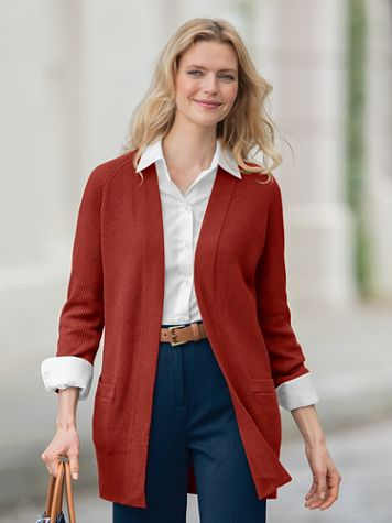 Long Open Front Cardigan Sweater - Image 1 of 5