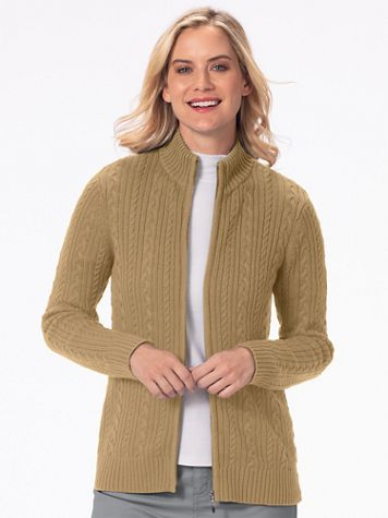 Iconic Cable Zip Cardigan Sweater - Image 1 of 17