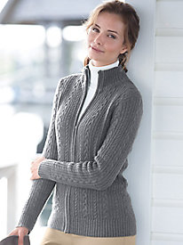 Iconic Cable Zip Cardigan Sweater