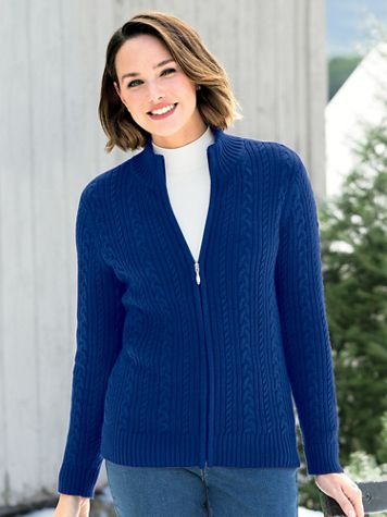 Iconic Cable Zip Cardigan Sweater - Image 1 of 15