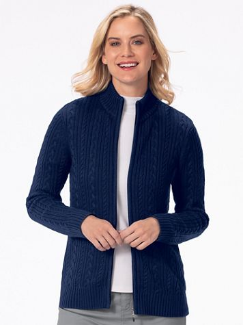 Iconic Cable Zip Cardigan Sweater - Image 1 of 5