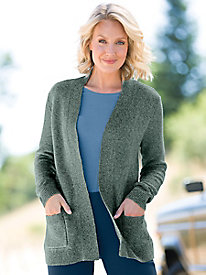 Textured Open Front Cardigan Sweater