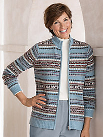 Fair Isle Zip Cardigan Sweater