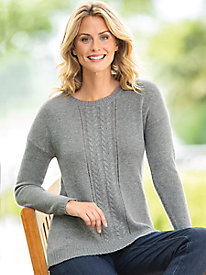 Center Cable Pullover Sweater