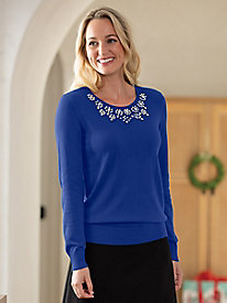 Embellished Fine Gauge Sweater