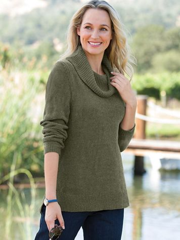 Chenille Cowlneck Sweater