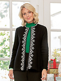 Embroidered Boiled Wool Cardigan Sweater