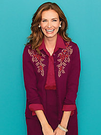 Holiday Floral Embroidered Cardigan