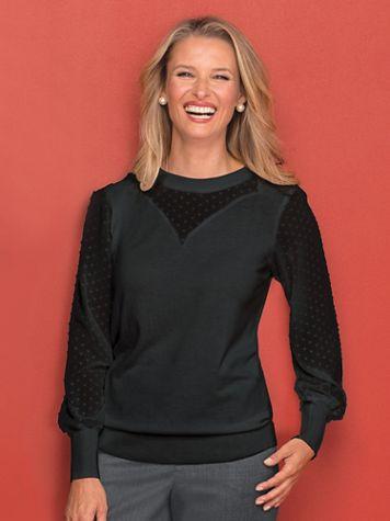 Chiffon Dot Sleeve Sweater - Image 1 of 2
