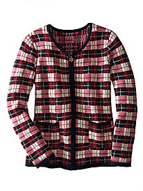 Holiday Plaid Cardigan Sweater