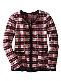 Holiday Plaid Cardigan Sweater