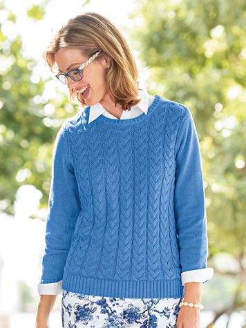 Heritage Cotton Cable Crewneck Sweater - Image 1 of 5