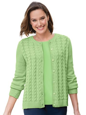 Heritage Cotton Cable Cardigan Sweater - Image 1 of 9