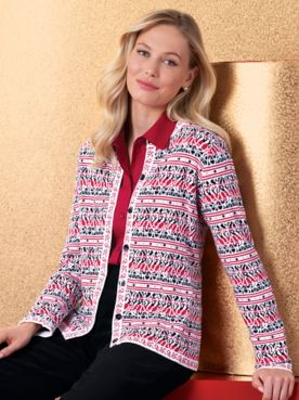 Floral Stripe Jacquard Cardigan Sweater