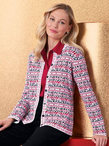 Floral Stripe Jacquard Cardigan Sweater - Image 3 of 3