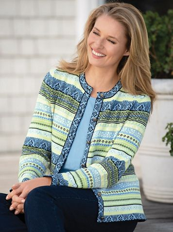 Spring Fair Isle Jacquard Cardigan Sweater - Image 1 of 1