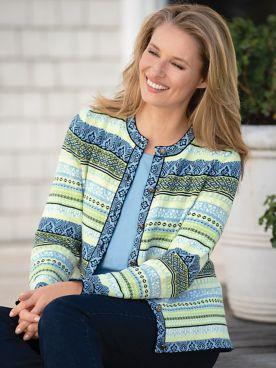 Spring Fair Isle Jacquard Cardigan Sweater