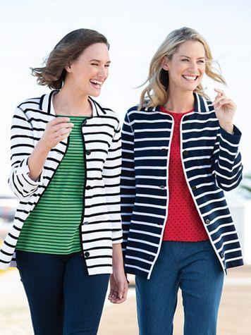 Nautical Stripe Sweater Jacket - Image 1 of 5