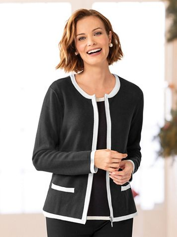 Zip-Front Tipped Cardigan - Image 1 of 5