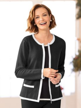 Zip-Front Tipped Cardigan